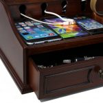 Nightstand Charging Station With Dark Brown Wooden Drawer