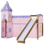 Pink Purple Castle Bed With Stairs