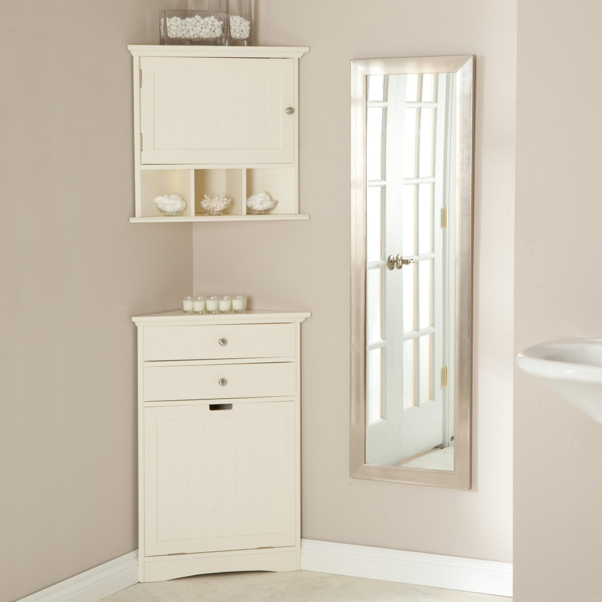 pretty white wooden cabinet for bathroom