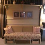 Pull Out Sofa Bed And Side Mount Brown Floral Pattern With Twin Cushions For Bedroom