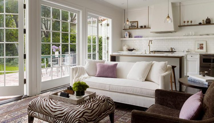 pure white with brown loveseat modern transitional living room