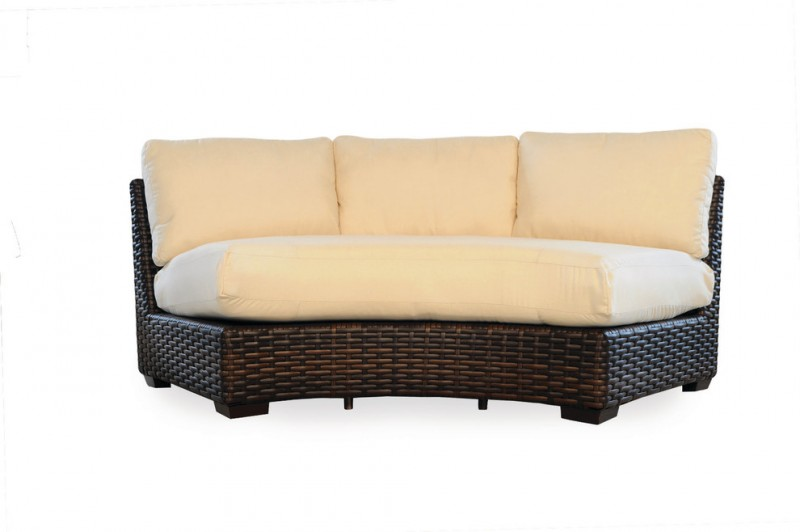 rattan small curved sofa with white soft cushion