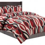 Red Abstract Comforter Mixed With Black And White