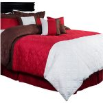 Red Brown White Bedding Comforter With Pillows