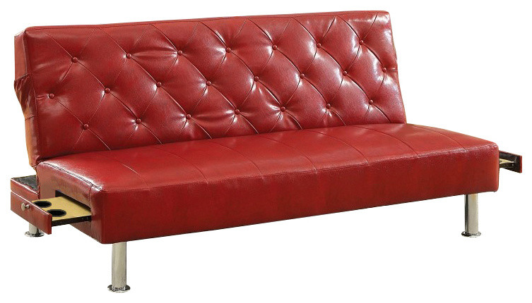 red leather chair bed with cup holder and side pocket on each side