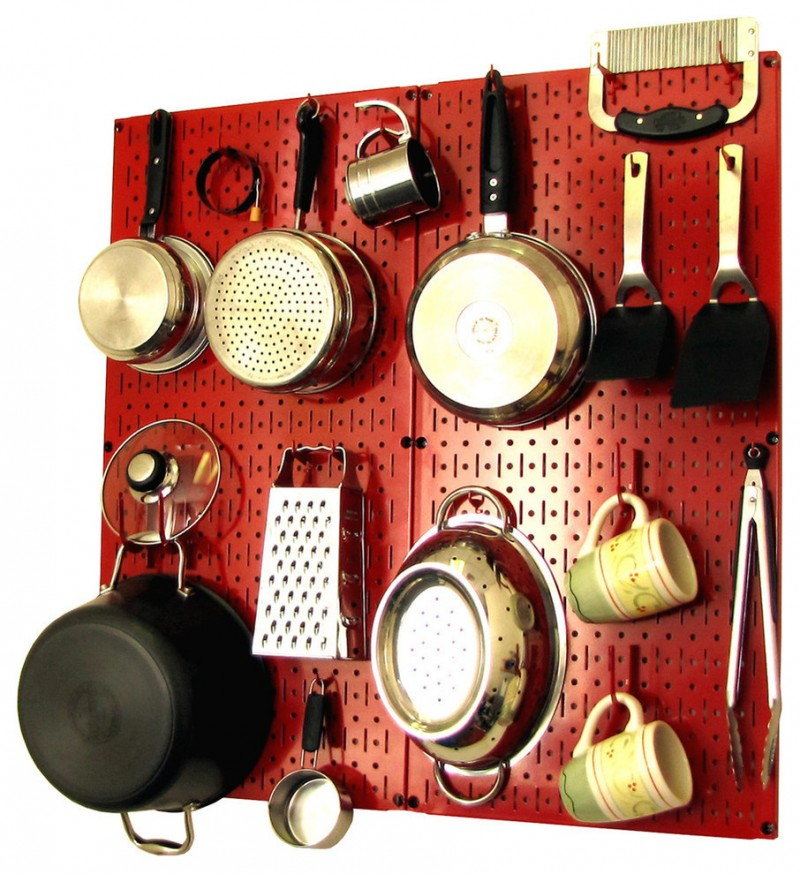 red pot hanging rack