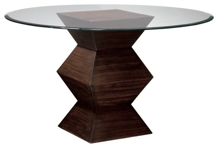 round glass coffee table with artistic zebra wood legs