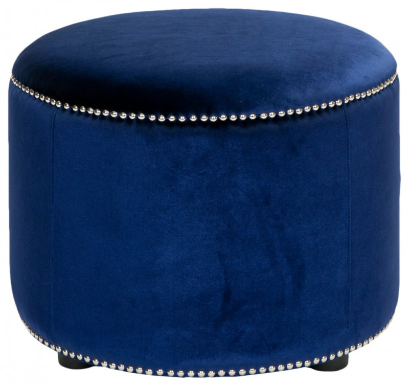 round royal blue velvet ottoman
