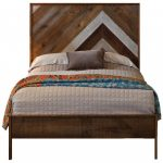 rustic brown wooden platform bed with pine headboard