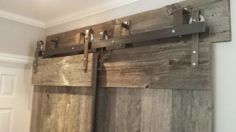 rustic grey steel sliding door