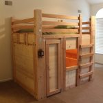 rustic light brown wooden loft bed with room of imagination under
