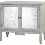 Rustic Light Grey Wooden Console Cabinet With Distressed Antique Mirror Front Doors