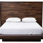 rustic modern dark brown wooden platform bed with reclaimed wood headboard