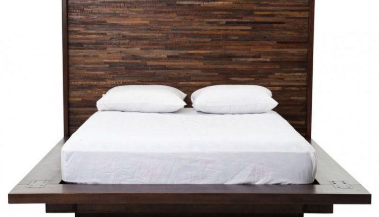 rustic modern dark brown wooden platform bed with reclaimed wood headboard