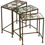Rustic Modern Iron Framed Three Set Nesting Tables