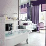 shabby chic style bathroom purple velvet curtains white bath tub purple soft purple chair white basin white windows white floor purple motif wall paper mirror