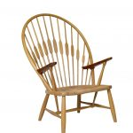 short round brown wooden modernwindsor chair