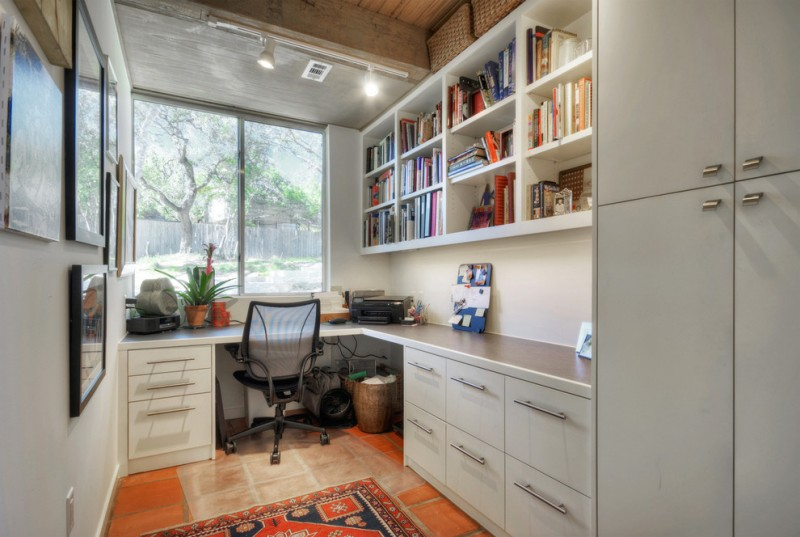 simple contemporary office painting cabinet bookshelf modern chair big window carpet landscape