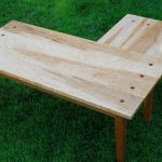 simple raw wooden  L shaped coffee table