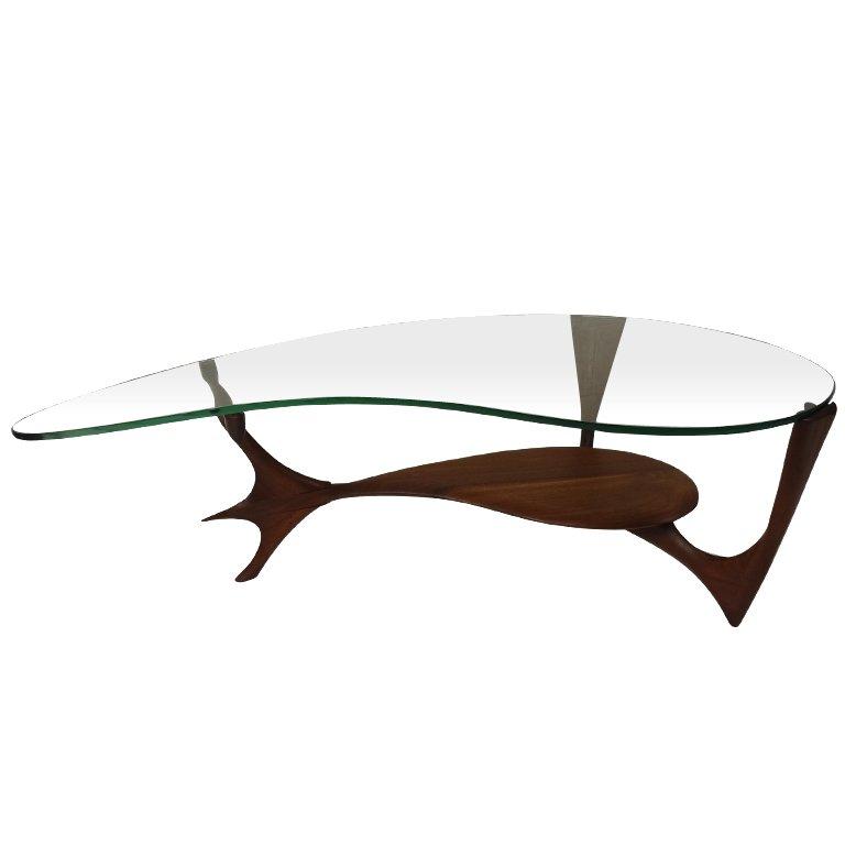 Slim Glass L Shaped Coffee Table