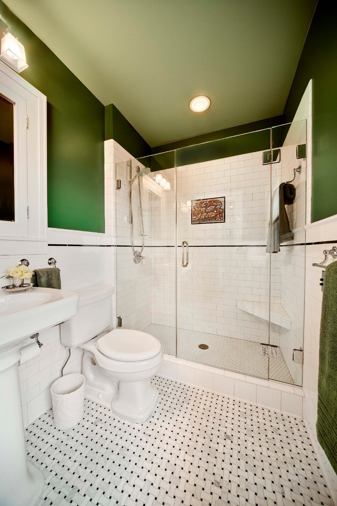 small bathroom remodel ideas green walls ceiling lamp towel rack toilet faucet sink shower glass door