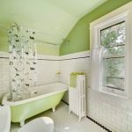 small bathroom remodel ideas light green white small tile mirror toilet window rack curtain corner shelf