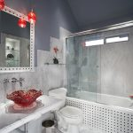 small bathroom remodel ideas sink faucet mirror toilet bathtub glass door vase flower hanging lamp