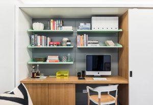 stainless steel multiple shelves contemporary white cabinet wooden cabinet light grey backwall elegant chair