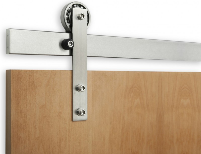stainless steel slim sliding door hardware with visible fasteners