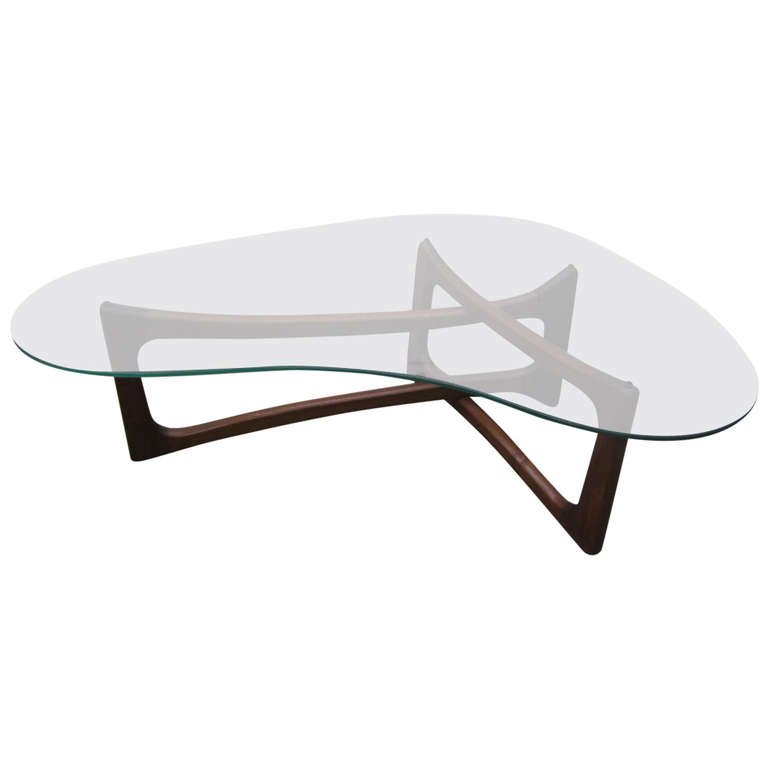 Stylish Glass L Shaped Coffee Table With Dark Brown Foot