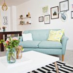 Sweet Blue Loveseat Chair Pure White Top Coffee Table Monochromatic Rug