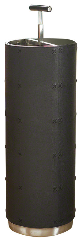 tall black leather umbrella stand with top holder