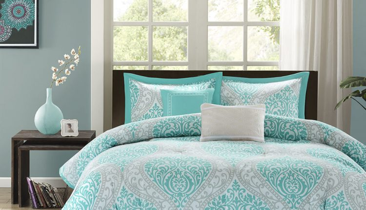 A Welcome Comfort From Teal And Gray Bedding Decohoms