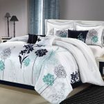 Teal White Comforter And White Bed