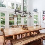 traditional dining room with dining table and french doors