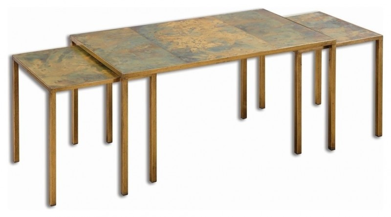 traditional simple wooden nesting tables