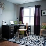 transitional home office purple curtains white windows wooden chairs motif cushion motif rug grey wall brown table wooden floor
