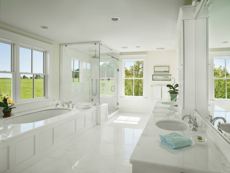 white bathroom ideas ceiling lamp windows vase flowers white floor mirror painting faucet sink glass door shower bathtub