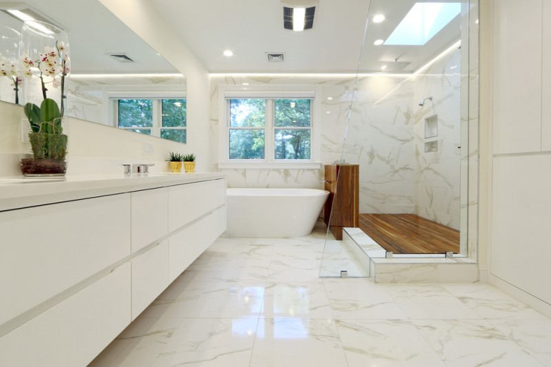 white bathroom ideas glass floor tile ceiling lamp vase faucet sink flowers windows wood bathtub lighting