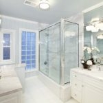 white bathroom ideas vase flowers window door glass ceiling lamp bathroom lighting faucet sink mirror glass door