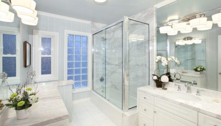 white bathroom ideas vase flowers window door glass ceiling lamp bathroom lighting faucet sink mirror glass door