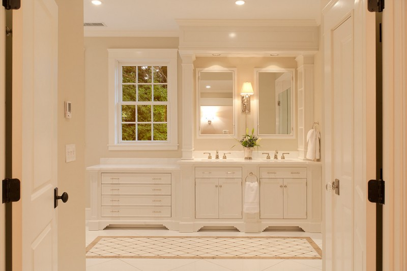 white bathroom ideas white door towel faucet sink cabinet rack ceiling lamp window vase mirrors lighting