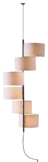 white cream 7 pendant lamp arranged in line
