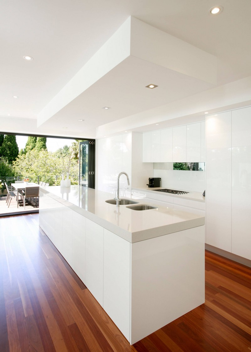 white flat panel cabinet glossy cabinet glass white backsplash splendid wooden floor chilling outdoor view