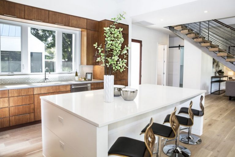 White Kitchen Modern Chairs Wooden Wall Cabinets Stairs Basin Vase Door Dining  Table Wide Windows