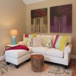 White Small Sectional Sofa With Colorful Pillows