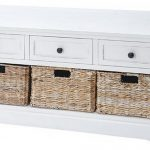 White Storage Bench With Three Drawers And Three Baskets