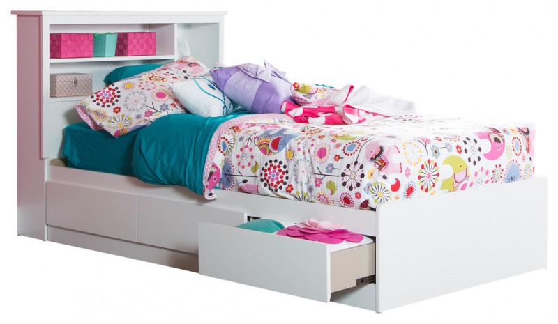white wooden bed with drawers under and shelves at the head of the bed