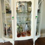 White Wooden Liquor Cabinet With Glass Door