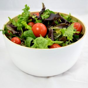 with pretty bamboo salad bowl